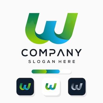 Kleurrijk modern letter w-logo-ontwerp