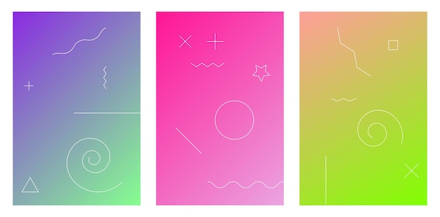 Kleurrijk modern patroon grafisch abstract concept blauw groen koraal palet kleurovergang set