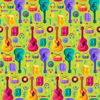 Kleurrijk muziekinstrument plat naadloos patroon