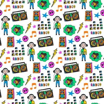 Kleurrijk muzikaal naadloos patroon. leuke kleuren. doodle muziek achtergrond.