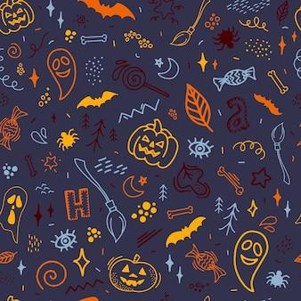Kleurrijk naadloos halloween-patroon van krabbels