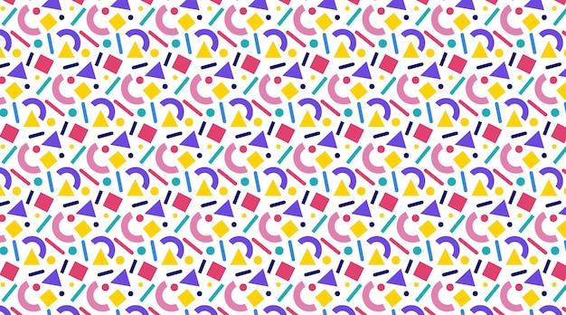 Kleurrijk naadloos patroon in de stijl van memphis