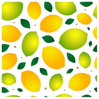 Kleurrijk naadloos patroon met citroenen en bladeren