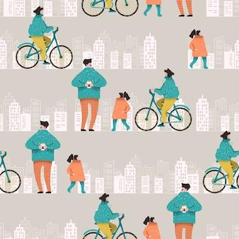 Kleurrijk naadloos patroon met familie op een wandeling in de stad