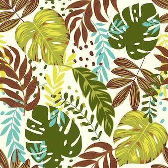 Kleurrijk naadloos patroon met grote tropische bladeren
