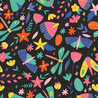 Kleurrijk naadloos patroon met insecten en bloemen zomer vectorpatroon met vlinders