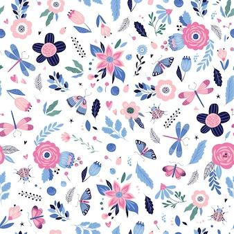 Kleurrijk naadloos patroon met insecten en bloemen.