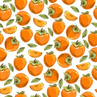 Kleurrijk naadloos patroon met persimmon.