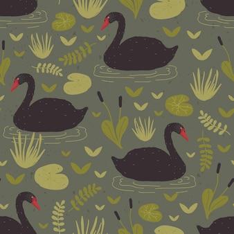 Kleurrijk naadloos patroon met prachtige wilde zwarte zwanen die in moeras of moeras tussen waterplanten drijven. vectorillustratie in platte cartoonstijl voor inpakpapier, textielprint, behang.