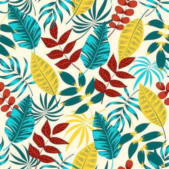 Kleurrijk naadloos patroon met rode en blauwe bladeren en planten