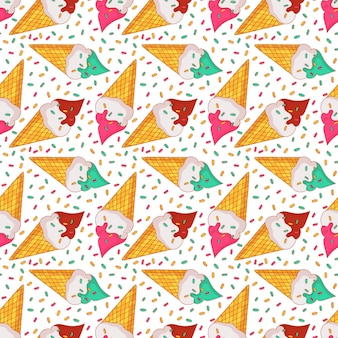 Kleurrijk naadloos patroon met roomijs in wafelkegels. zomer achtergrond.