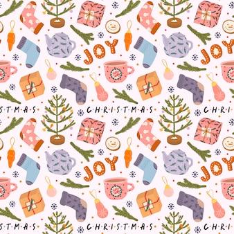 Kleurrijk naadloos patroon met traditionele de winterelementen voor kerstmis en nieuwjaar in hygge-stijl