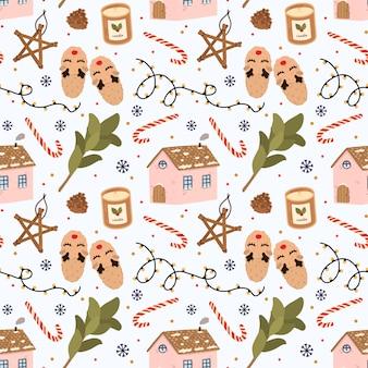 Kleurrijk naadloos patroon met traditionele de winterelementen voor kerstmis in hygge-stijl.
