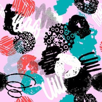 Kleurrijk naadloos patroon met verschillende vormen en texturen.