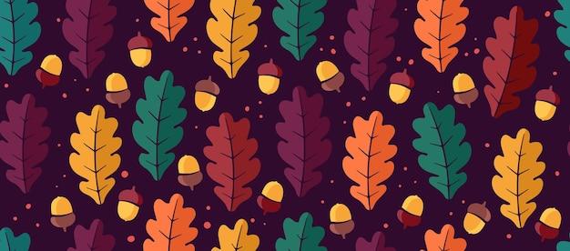 Kleurrijk naadloos patroon van eikenbladeren en eikels op een donkere achtergrond