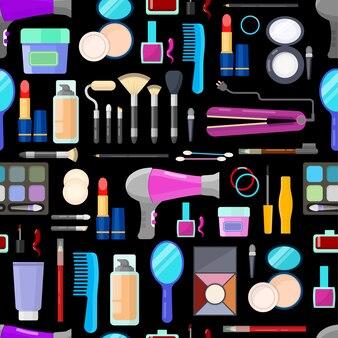 Kleurrijk naadloos patroon van hulpmiddelen voor make-up en schoonheid op zwarte achtergrond