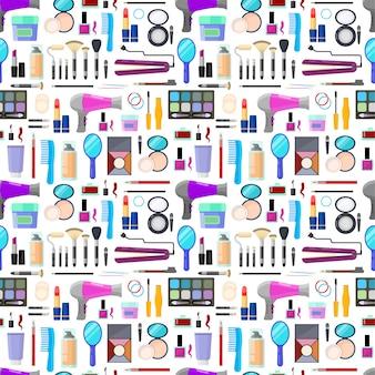 Kleurrijk naadloos patroon van hulpmiddelen voor make-up en schoonheid