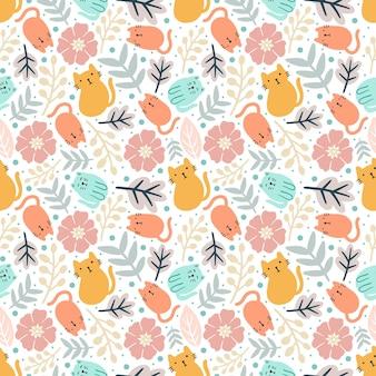 Kleurrijk naadloos vectorpatroon met schattige dieren en blad op de achtergrond
