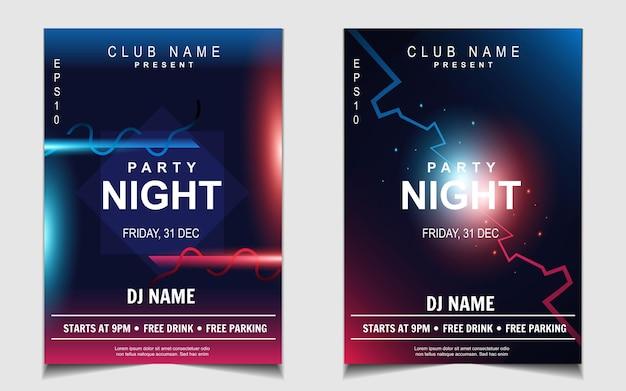 Kleurrijk nachtdansfeest muziek flyer of posterontwerp