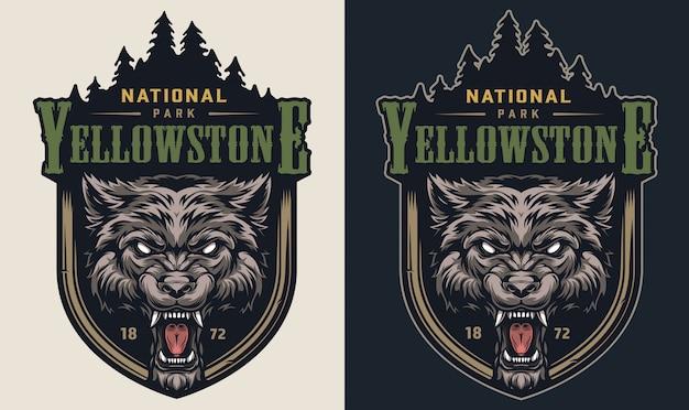 Kleurrijk nationaal park vintage logo
