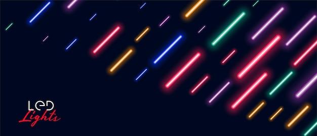 Kleurrijk neon geleid licht regenontwerp als achtergrond