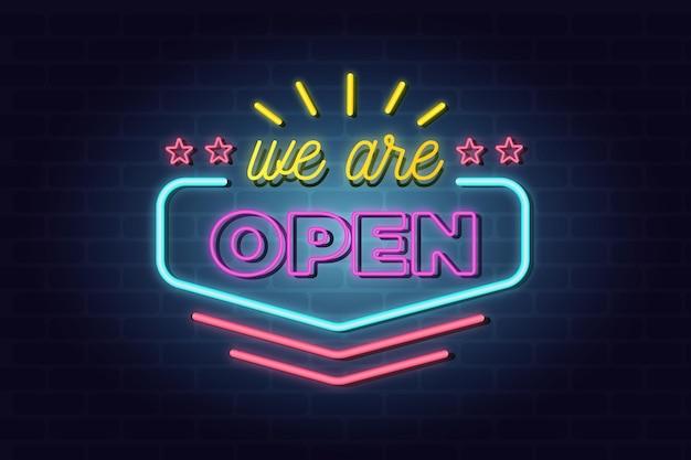 Kleurrijk neon 'we are open' bord