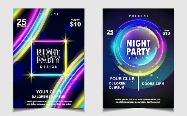 Kleurrijk neonlicht nacht dansfeest muziek flyer of posterontwerp