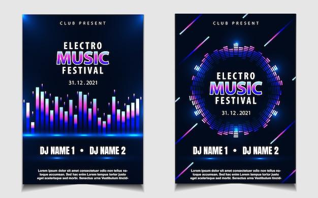 Kleurrijk neonlicht partij muziek posterontwerp