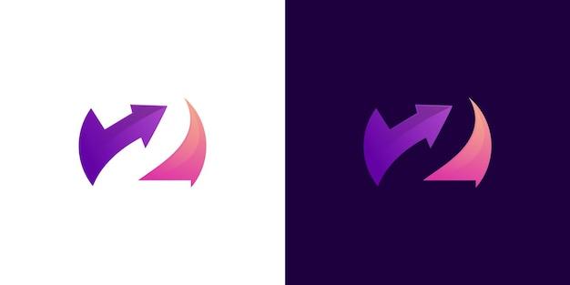 Kleurrijk nummer 2 met pijl logo vector