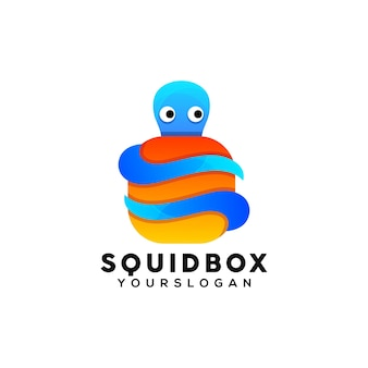 Kleurrijk octopusdoos logo-ontwerp
