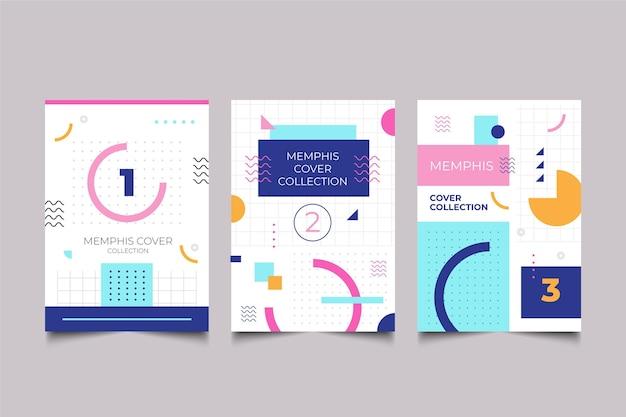Kleurrijk omslagpakket memphis-ontwerp