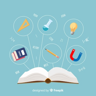 Kleurrijk onderwijsconcept met vlak ontwerp