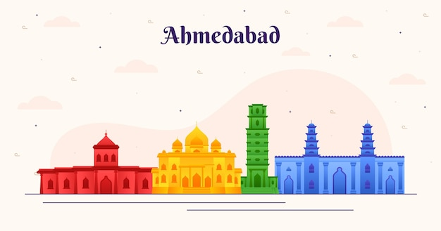 Kleurrijk ontwerp ahmedabad skyline