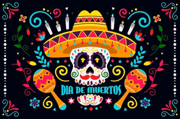Kleurrijk ontwerp dag van de dode achtergrond