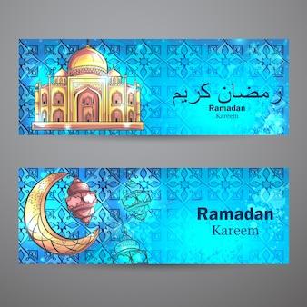 Kleurrijk ontwerp is versierd met moskee en wassende maan