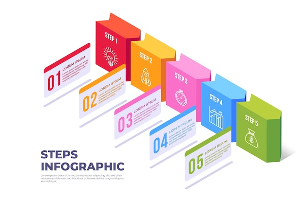 Kleurrijk ontwerp stappen infographic