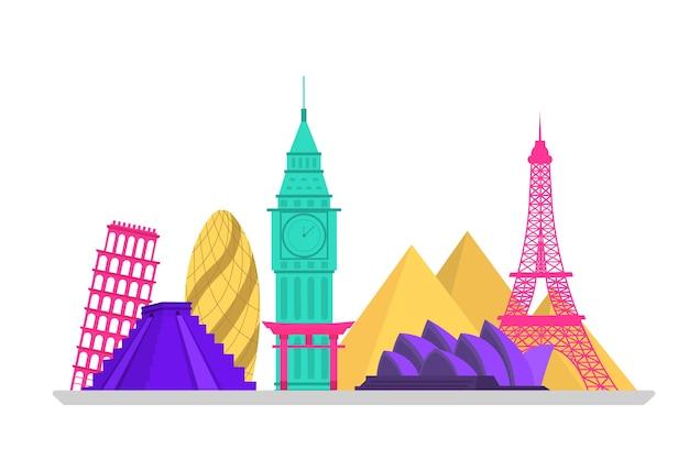 Kleurrijk oriëntatiepunten skyline design