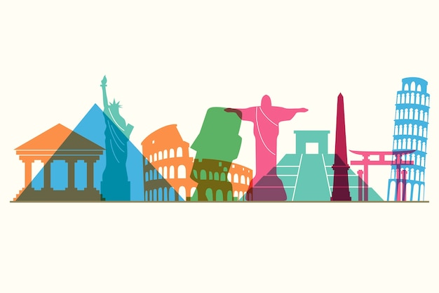 Kleurrijk oriëntatiepunten skyline ontwerp
