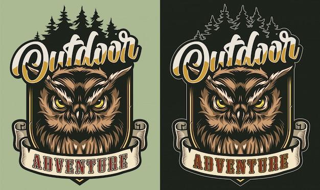 Kleurrijk outdoor avontuur vintage label