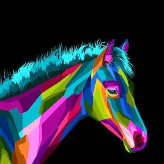 Kleurrijk paard in pop-artstijl
