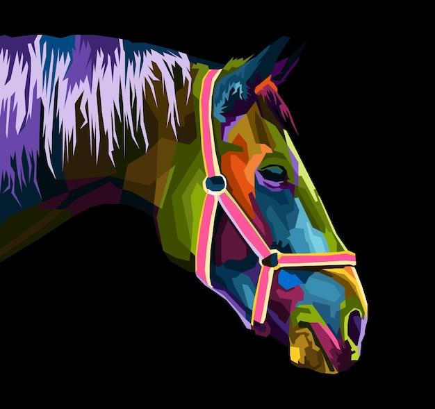 Kleurrijk paardenhoofd met abstract modern geometrisch pop-artportret