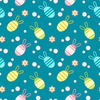 Kleurrijk paaseieren naadloos patroon dat op groene achtergrond wordt geïsoleerd ontwerp voor textiel
