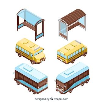 Kleurrijk pak isometrisch uitzicht op bus- en bushalte