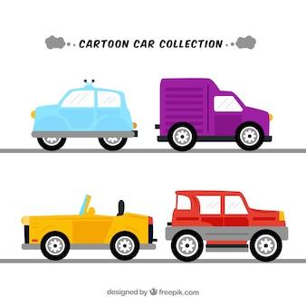 Kleurrijk pak platte auto's