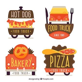 Kleurrijk pakje logotypes met platte voedselvrachtwagens