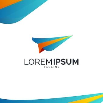 Kleurrijk papieren vliegtuig logo