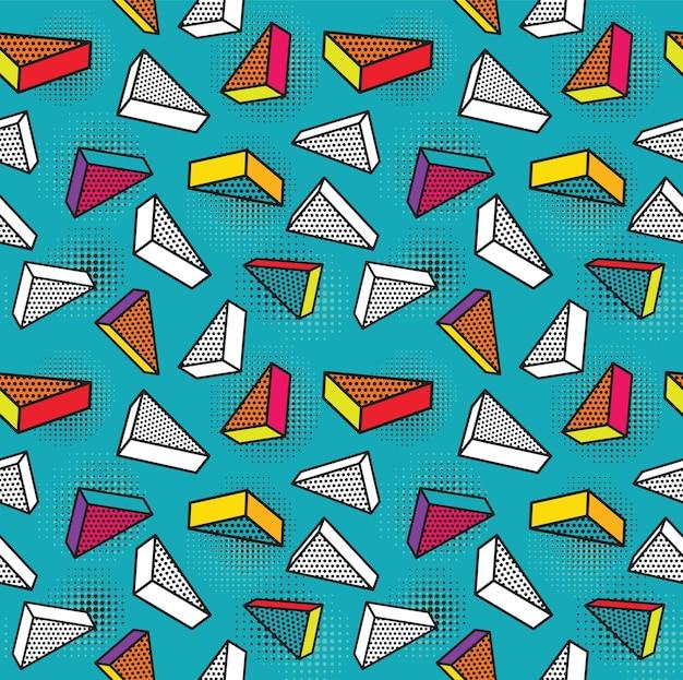 Kleurrijk patroon met 3d grafische elementen.