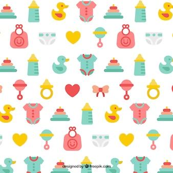 Kleurrijk patroon met baby elementen in plat design
