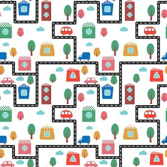Kleurrijk patroon met schattige huizen, auto's, bomen en weg stad vectorillustratie