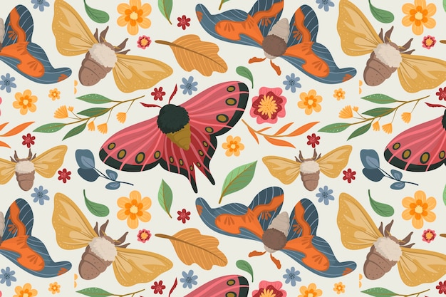 Kleurrijk patroon met verschillende bloemen en insecten